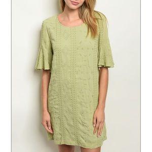Sage green short sleeve tunic dress.